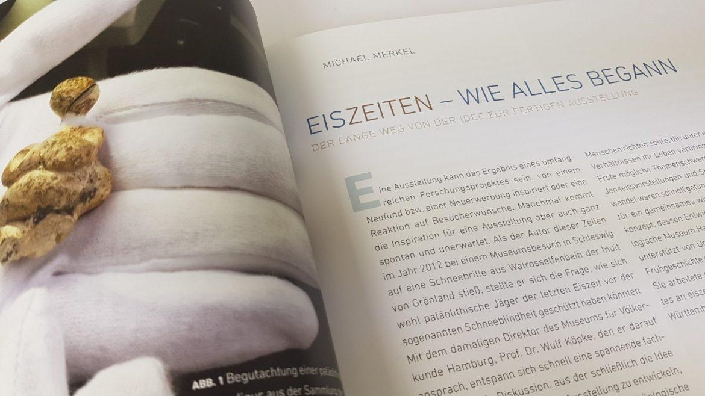 """Detail des Katalog zur Sonderausstellung """"EisZeiten"""" im Archäologischen Museum Hamburg und Museum für Völkerkunde Hamburg"""