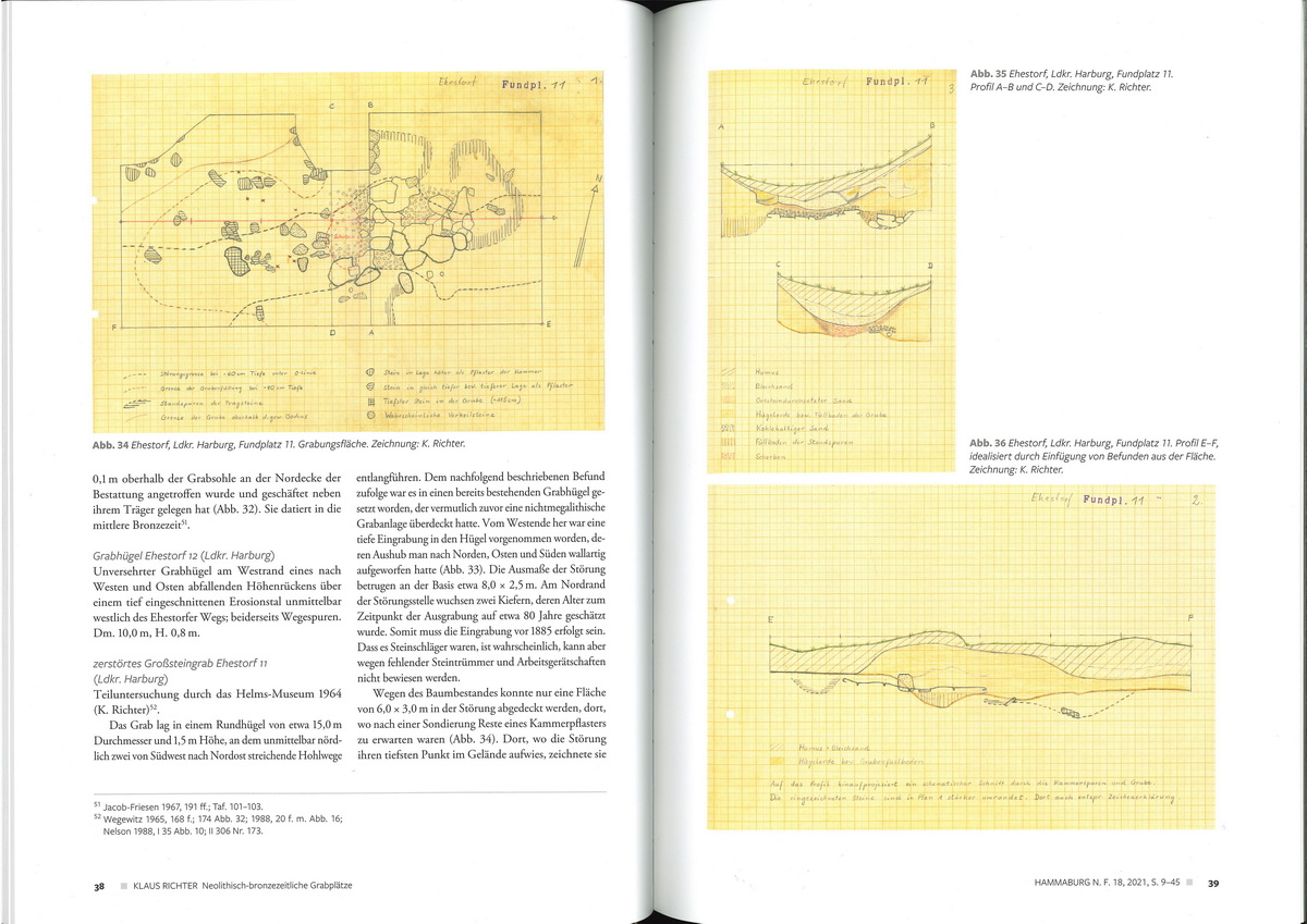Buchseiten mit Text und gezeichneten Plänen
